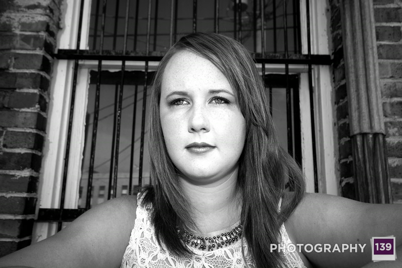 A black & white photo from Kalista's Summer Senior Pictures.