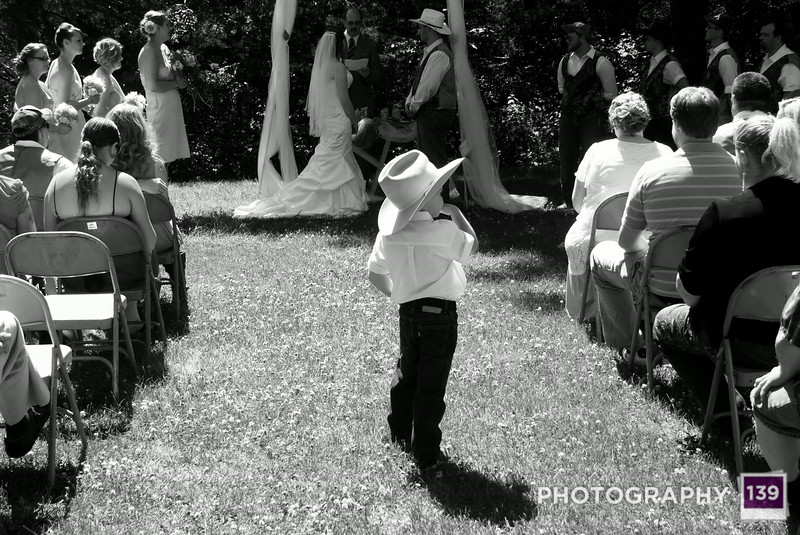 A little cowboy at Debra and Brandon's wedding.