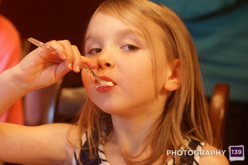 Evie Eating Birthday Cake